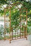 KUHEIGA Stabiler Rosenbogen mit Tor/Tür Metall B: ca. 120 cm T: 70cm Rost Rankbogen