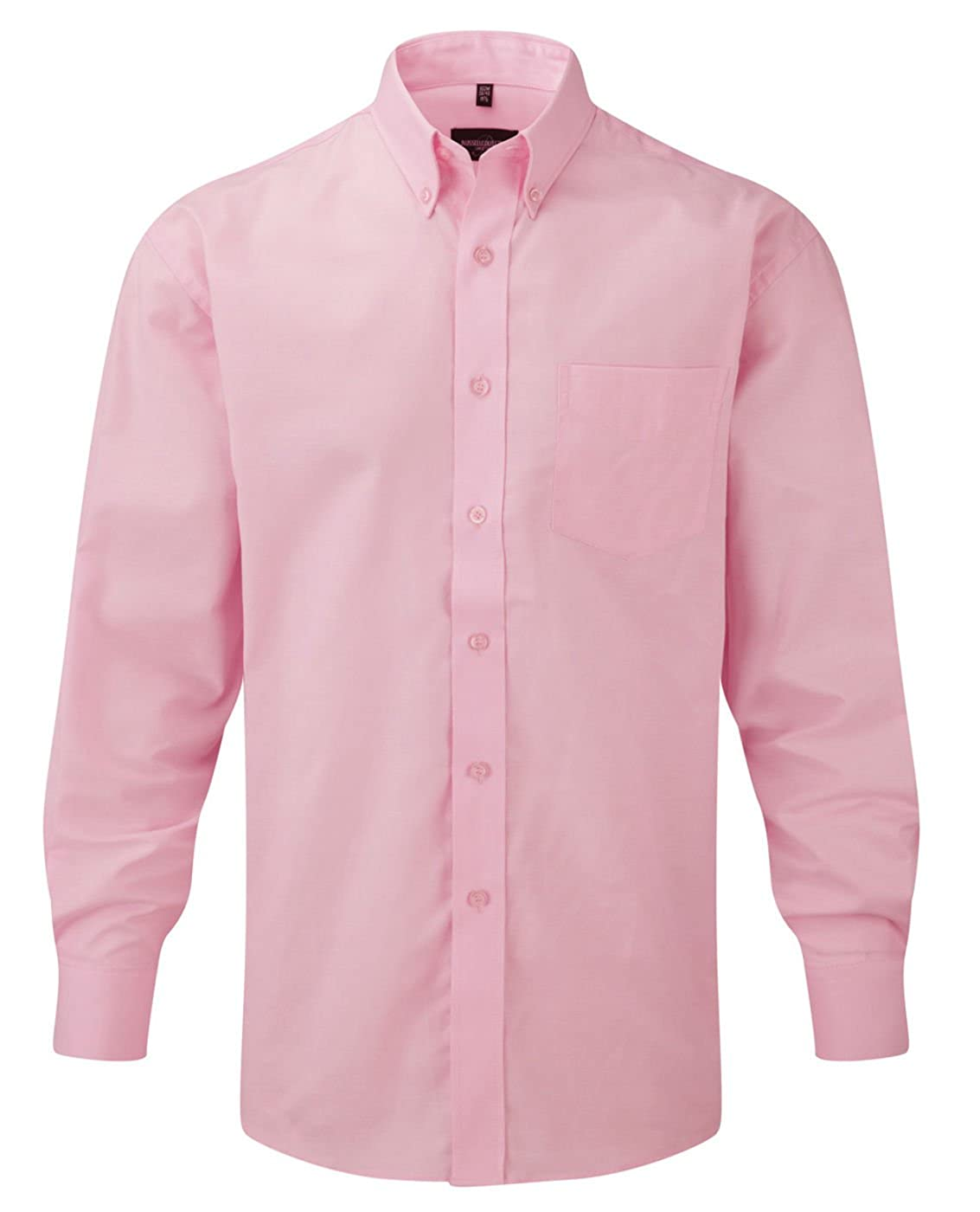 Russell Collection Mens Long Sleeve Easy Care Oxford Shirt: Amazon ...
