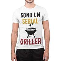 CHEMAGLIETTE! Maglietta Uomo T-Shirt Divertente con Stampa Ironica Sono Un Serial Griller Tuned