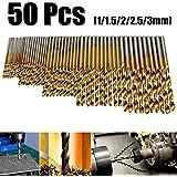 MOHOO 50pcs Lot de mèches en acierà haute vitesse foret HSS Surface enplaquétitane pour percer un trou de 1 / 1.5 / 2 / 2.5 / 3 mm