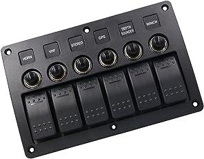 Segolike 6 Gang LED Rocker Switch Panel Circuit Breaker for 12V/24V Car RV Marine