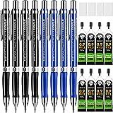 Ensemble de Crayons Mécaniques, 8 Pièces Crayons Mécaniques, Point Épais (0.9 mm) avec et 8 Tubes 2B Recharges de Plomb et 4 Packs Gommes à Effacer Blanches pour Dessin et Écriture