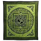 Tagesdecke Om Mandala grün Baumwolle Wandbehang Dekoration