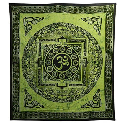 Couverture indienne Tenture Om Mandala Vert Noir 235x215cm Coton Ameublement Décoration Textile Dessus-de-lit