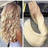 Ugeat 18 Zoll/45cm Highlight Blonde One Piece Clip in Human Hair Extensions With 5 Clips 50g 3/4 Voller Kopf Ombre Remy Clip Echthaar Extensions #12/613 Hell Goldbraun mit Gebleichtes Blond
