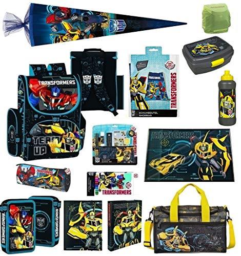 Familando Transformers Schulranzen-Set 21tlg. mit Federmappe, große Sporttasche, Regenschutz und Schultüte 85cm