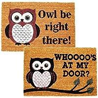 New 40 X 60 Cm Luxury Heavy Duty Welcome Door Mat House Garden Entrance Carpet Owl Twin Pack