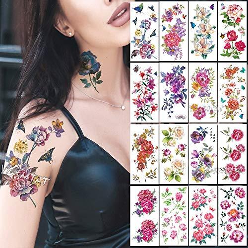 Tzxdbh acquerello tatuaggi temporanei per tatuaggi donna rose acquerello adesivi per tatuaggio in 3d con fiori sul petto