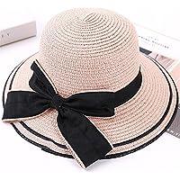 JYJSYM Mujeres del Verano Gran Alero Parasol Verano Protector Solar Anti - UV Sombrero Sombrero de Paja, Sombrero de Sol Verano Playa, sombrilla, Sombrero de Deportes al Aire Libre,Pink