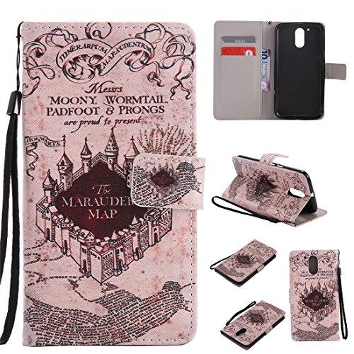 Nancen Motorola Moto G4 / G4 Plus (5,5 Zoll) Hülle/Handyhülle, Painted Retro PU Leder Tasche Schutzhülle Case Lederhülle Flip Cover mit Standfunktion [Alte Schloss] (Alte Flip-telefone Motorola)