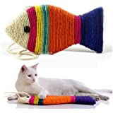 Kiki N Pooch Fish Toy Sisal Rope Scratch Board with Bell Interactive Scratcher Toy for Cats , Kitten (Big Size)
