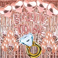 """ATFUNSHOP Bachelorette Party Decorations 38 Pieces Bridal Shower Decorations: Bride To Be Foil Balloon Banner + Rose Gold Balloons + Confetti Balloons + 33"""" Engagement Ring Balloon + Foil Curtains"""