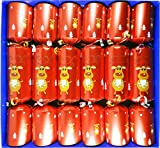 Fill Your Own Christmas Crackers - Box of 6 large barrelled Crackers Red Festive Reindeer Design by Crackers Ltd (Cat F1)