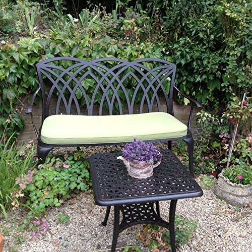 Lazy Susan – SANDRA Quadratischer Kaffeetisch mit 1 APRIL Gartenbank – Gartenmöbel Set aus Metall, Antik Bronze - 3