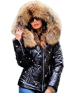 Italian Collection Womens High Shine Faux Fur Trim Puffer Quilted Winter Coat Ladies Fur Collar Hooded Wetlook Vinyl PVC Women Girls PU Parka Bubble