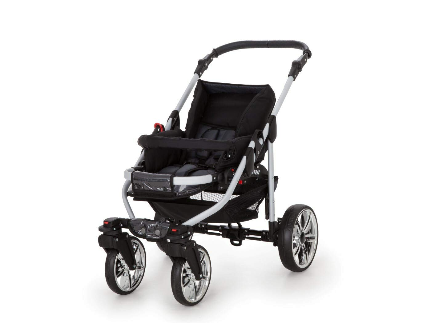 Travel System Stroller Pram Pushchair 2in1 3in1 Set Isofix X-Car by SaintBaby Black & Check 3in1 with Baby seat SaintBaby 3in1 or 2in1 Selectable. At 3in1 you will also receive the car seat (baby seat). Of course you get the baby tub (classic pram) as well as the buggy attachment (sports seat) no matter if 2in1 or 3in1. The car naturally complies with the EU safety standard EN1888. During production and before shipment, each wagon is carefully inspected so that you can be sure you have one of the best wagons. Saintbaby stands for all-in-one carefree packages, so you will also receive a diaper bag in the same colour as the car as well as rain and insect protection free of charge. With all the colours of this pram you will find the pram of your dreams. 7