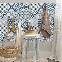 24 (Piezas) Adhesivo para azulejos 20x20 cm - PS00080 - Ostuni - Adhesivo decorativo para azulejos para baño y cocina - Stickers azulejos - Collage de azulejos