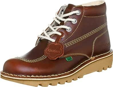 Kickers-Kick Hi-Scarponcini in pelle con lacci da uomo alla caviglia in pelle, colore marrone scuro, Beige (Marrone scuro),