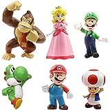 WENTS Super Mario Figures 6pcs / Set Super Mario Toys Figuras de Mario y Luigi Figuras de acción de Yoshi y Mario Bros Figura