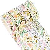 YUBX 4 Rouleaux Washi Tape Ruban Adhésif Papier Décoratif Masking Tape pour Scrapbooking Artisanat de Bricolage (Floral Gold)