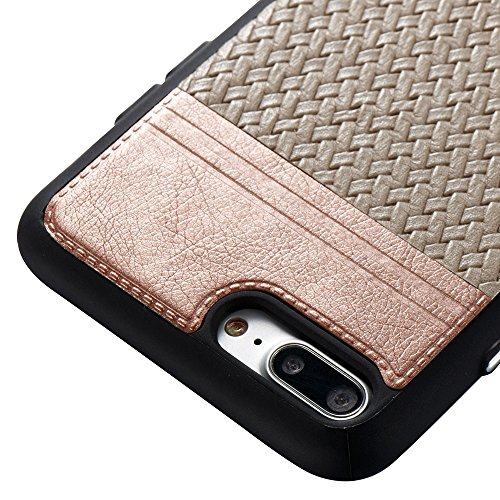 "Coque Iphone 7 Plus Silicone Nnopbeclik® Lignes de tissage Style Backcover Doux Soft Antichoc Housse pour Iphone 7 Plus Coque Silicone (5.5 Pouces) Protection Antiglisse Anti-Scratch Etui ""NOT FOR IPH champagneor+gris"