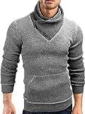 Grin&Bear Slim fit Schalkragen Pullover Grobstrick Strickjacke Herren, anthrazit, S, GEC570