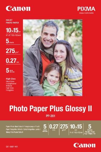 Canon PP-201 - Papel foto brillo (10X15, 5 hojas, 260g/m2)