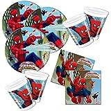 Decorata–Juego vajilla y accesorios para fiesta de cumpleaños, para 8Infantil, diseño de color hombre araña, 36unidades)