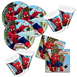 36-tlg. Partyset Spiderman für 8 Kinder - Partygeschirr und Zubehör für Kindergeburtstag