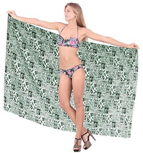 womens navigare ondulato gonna bikini costumi da bagno di cotone leggero coprire sarong Verde 8
