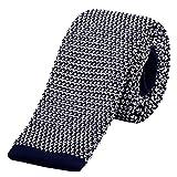 DonDon Cravatta Uomo fatta a maglia 5 cm - blu scuro bianco