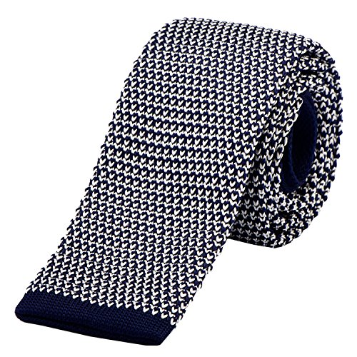 DonDon schmale Strickkrawatte 5 cm - dunkelblau weiß