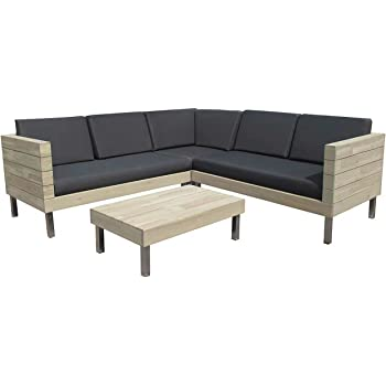 Amazon.de: OUTLIV. Loungemöbel Holz Zeeland Loungeset 4tlg. Alu ...