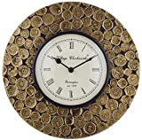 Swagger Coin wall clock with carved desi...