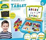 Lena 65712 - Magnet - und Schreibtafel Set My first Tablet, Lernspielset mit 360° drehbarer Tafel, Magnet Buchstaben und Zahlen, Fasermaler und Tafelkreide, Schreiblernset für Kinder ab 3 Jahre