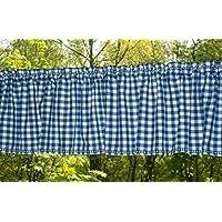 Kurzgardine blau-weiß kariert Bauernkaro mit ***Stickerei