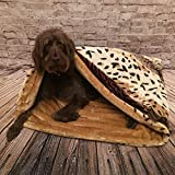 Snuggle Sack/ Sleeping bag/ Pet bed for cats or dogs by Lola's Pet Mink & Caramel (Medium 70cm high x 75cm wide)