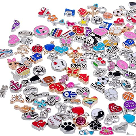 RUBYCA Wholesale 200pcs Floating Charms Lot for DIY Glass Living Memory Locket Mix Silver Gold Color by RUBYCA