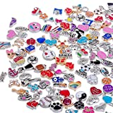 RUBYCA Wholesale 100pcs Floating Charms Lot for DIY Glass Living Memory Locket Mix Silver Gold Color