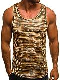 OZONEE Herren Tanktop Tank Top Tankshirt T-Shirt mit Print Unterhemden Ärmellos Weste Muskelshirt Fitness Motiv O/A506 Braun L