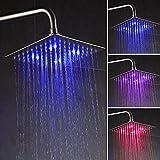 Auralum 8 Zoll RGB LED Duschkopf Regenbrause Kopfbrause Regendusche Ultra flach Spiegeleffekt hochglänzend