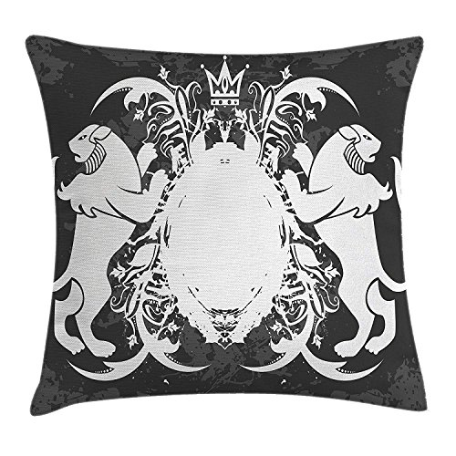 Royalty Velour (Antique Throw Pillow Cushion Cover by, Emblem of Royalty Heraldic Bearing with a Crown Pattern Vintage Design Print, Decorative Square Accent Pillow Case, 18 X 18 Inches, Black and White)