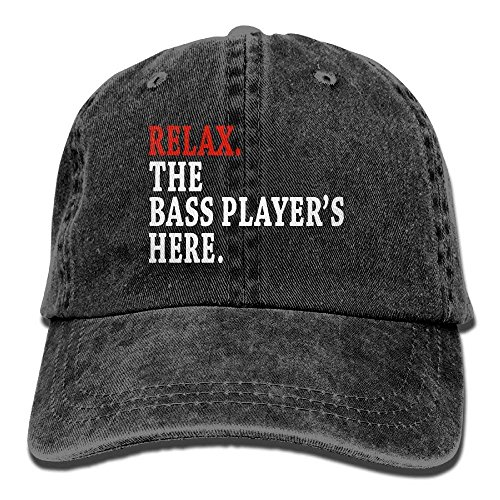 Desing shop Relax The Bass Player's Here Denim Hat Adjustable Womens Low Baseball Hats