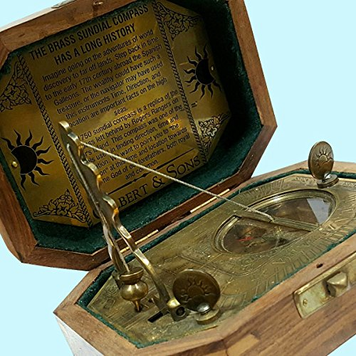 Brass Compass Nautical Antique Compass With Brown Antique Leather Case To Win A High Admiration Maritime Antiques