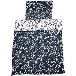 Bettwäsche Mikrofaser Bettbezug blau weiß Muster 2 teilig 135x200 155x220 (Blau-Weiß Ornament, 155x220 cm)