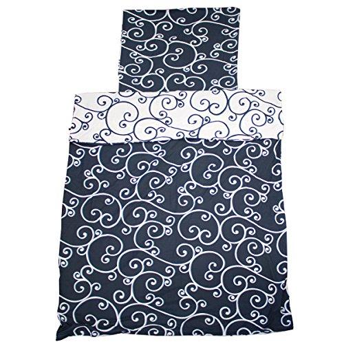 Bettwäsche Mikrofaser Bettbezug blau weiß Muster 2 teilig 135x200 155x220 (Blau-Weiß Ornament, 135x200 cm) (Bettwäsche Muster Blau)