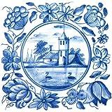 Glasbild Blaue Fliesenmalerei - Motiv 5 - Schwanensee mit Schloss - Größe 20 x 20 cm