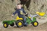 Rolly Toys 023100 rollyKid John Deere | Trettraktor mit Lader und Anhänger | Traktor mit Motorhaube zum Öffnen | Schauffellader/Frontlader für Kinder ab 2,5 Jahren | Farbe grün Vergleich