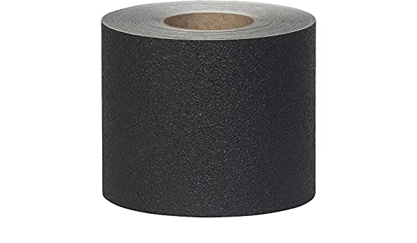 Black, 6-Inch by 60-Foot Roll, 2-Pack Jessup 3610-6 Safety Track Coarse Resilient Non-Slip High Traction Vinyl Safety Tape
