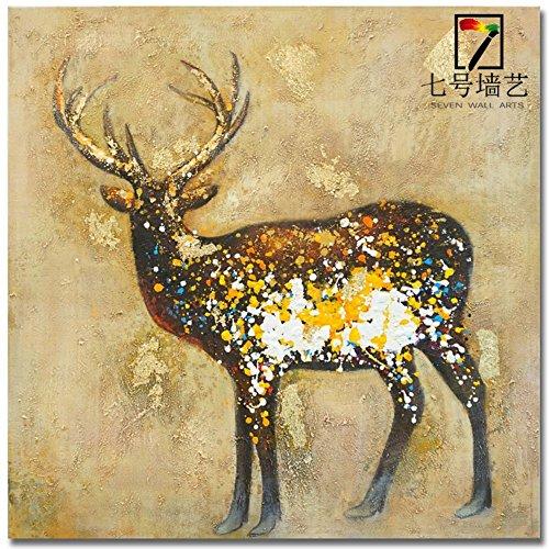 Stile europeo puro mano-dipinto ad olio dipinto a mano dorata Moose decorazione pittura a (Moose Ritratto)
